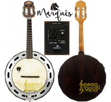 Banjo Elétrico Profissional Madeira Jacarandá Maciço c/ Capa Marquês BAJ99NTQMQ