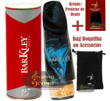 Boquilha Clarinete Barkley Prima 55 Azul e Preta Bag Protetor Brindes