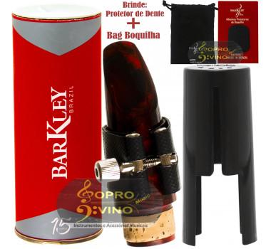 Boquilha Clarinete Barkley Prima 55 Vermelha Preta Completa Bag Protetor Brindes