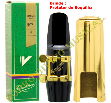 Boquilha Sax Alto Kit Vandoren V5 A55 Sm 417K (Promoção) Brinde Protetor