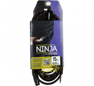 Cabo 4.57mts Conectores P10 + XLR Fêmea  Santo Angelo Ninja HG TX ( Textil )