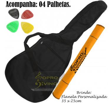 Capa Violão Clássico Luxo LP Bags Brindes Palhetas Flanela