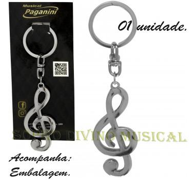 Chaveiro Clave de Sol Metal Formato Paganini PCH080