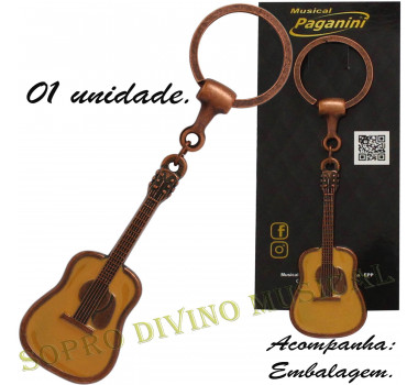 Chaveiro Violão Metal Formato Paganini