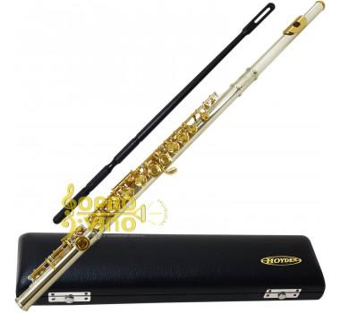 Flauta Transversal Corpo Prata Chaves Douradas Hoyden