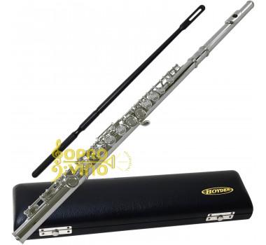 Flauta Transversal Prateada c/ Estojo e Agulha Hoyden HFL 25P