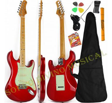 Guitarra Stratocaster Vermelho Metálico Série Woodstock TG 530 Tagima Brinde Capa + Acessórios