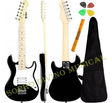 Guitarra Stratocaster Infantil 1/2 Cor Preta PHX IST-H BK + Capa e Acessórios