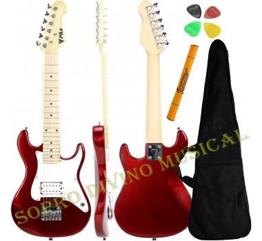 Guitarra Stratocaster Infantil 1/2 Cor Vermelha PHX ST-H MRD + Capa Acessórios