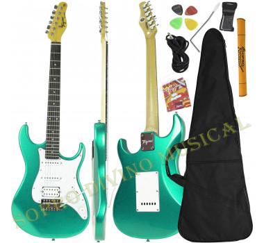 Guitarra Stratocaster Verde Metálico ( Surf Green ) Série Woodstock TG 520 Tagima Brinde Capa + Acessórios
