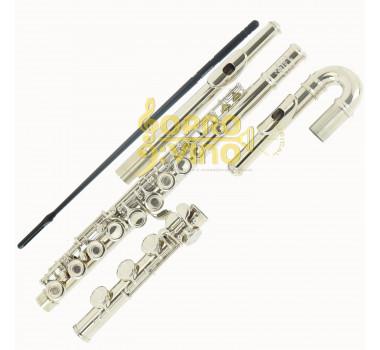 Flauta Transversal Niquelada com Bocal Curvo e Reto Jahnke JFL0100NQ