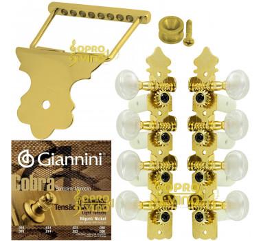 Kit Encordoamento Tarraxa Pino Grosso Cordal Dourado Bandolim
