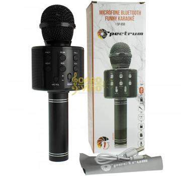 Microfone Sem Fio Karaokê Bluetooh USB Rádio FM Cartão SDSpectrum SP858