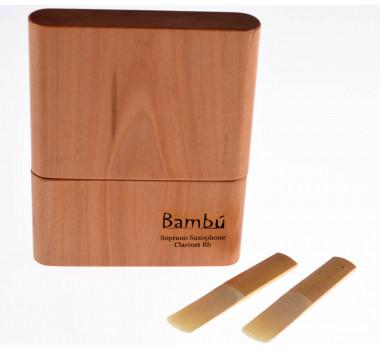 Estojo Porta Palheta Sax Soprano Alto e Clarinete Madeira Maciça Lenga Vientos Bambú