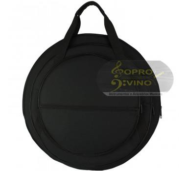 """Capa Bag Prato Bateria 14"""" 16"""" 20"""" Extra Luxo com Bolso Cor Preto LP Bags Brinde Flanela"""