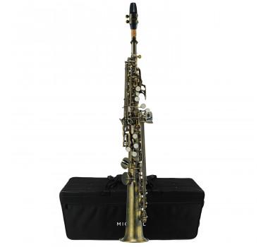 Sax Soprano Reto 02 Tudel Envelhecido Escovado Michael WSSM46 c/ Estojo e Acessórios