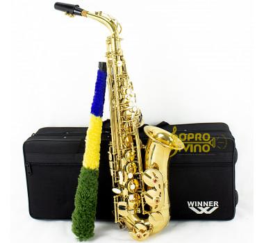 Sax Alto Dourado com Semi Case Winner