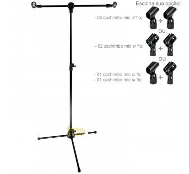Suporte Pedestal Girafa Preto c/ 02 Cachimbos p/ 02 Microfones Saty PMG20