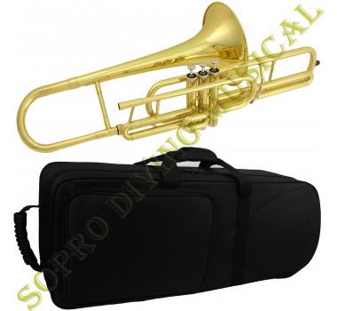 Trombone Pisto Curto Sib Laqueado Estojo Bocal Óleo Schieffer SCHTB 004