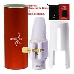 Boquilha Sax Alto Barkley Meritage Shadow 7 Branca Completa Bag Protetor Brindes
