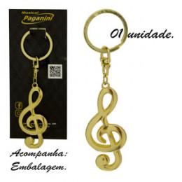 Chaveiro Metal Formato Clave de Sol Paganini PCH081 Ouro