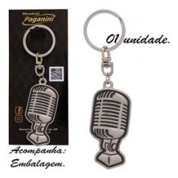 Chaveiro Microfone Metal Formato Paganini