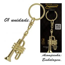 Chaveiro Trompete Metal Dourado Formato Paganini