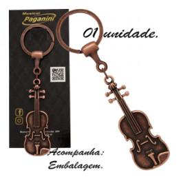 Chaveiro Violino Viola de Arco Metal Marrom Envelhecido Formato Paganini