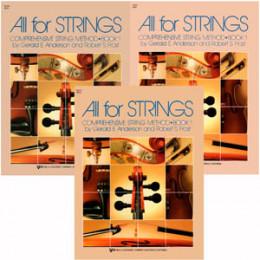 Métodos Violino Viola de Arco Violoncelo All For Strings Vol. 1 KJOS MUSIC (Kit c/ 3 Métodos)