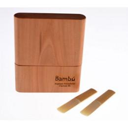 Estojo Porta Palhetas Madeira Maciça Lenga p/ Sax Tenor Barítono Clarone Baixo Vientos Bambú