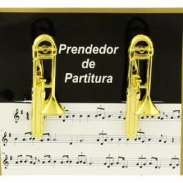 Prendedor Partitura Hinário Clipet Trombone Pisto Paganini