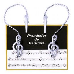 Prendedor Partitura Hinário Clipet com Corrente Cromado Paganini