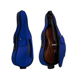 Semi Case Violoncelo 4/4 Nylon Azul Acolchoado Alta Qualidade Proteção Capas