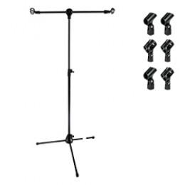 Suporte Pedestal Girafa para 02 Microfones - 02 Cachimbos Saty PMG20 Preto