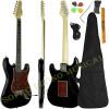 Guitarra Stratocaster Giannini Standard Séries Preto Alto Brilho Escudo Tortoise c/ Capa + Acessórios