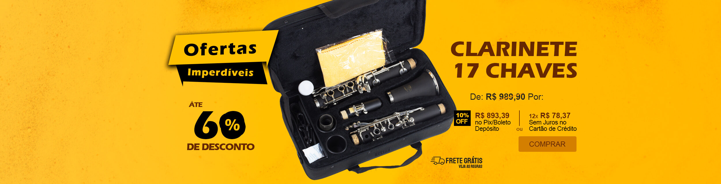 Ofertas Imperdíveis - Clarinete Sib 17 Chaves Jahnke