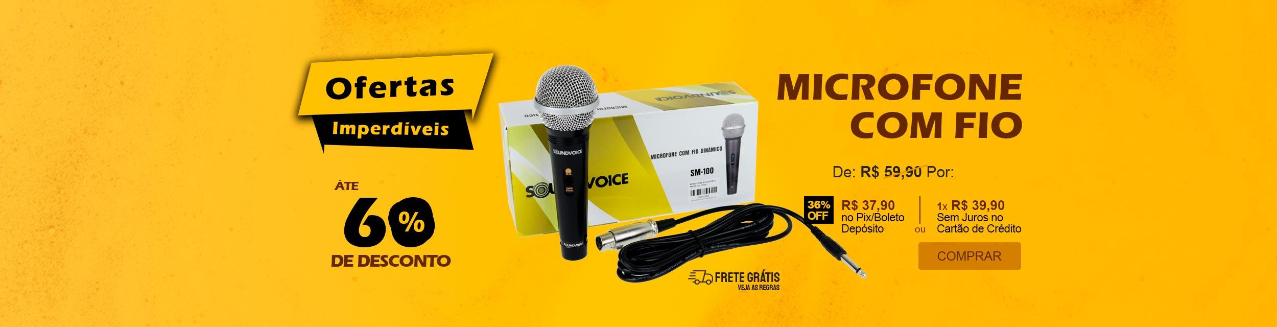 Microfone com Fio Dinâmico Sound Voice SM100