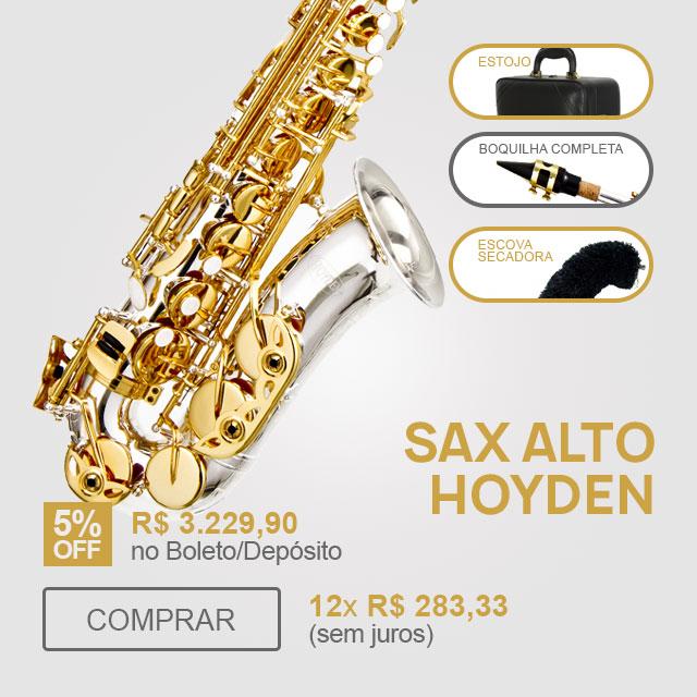 F - Sax Alto Corpo Prata Chaves Douradas Hoyden