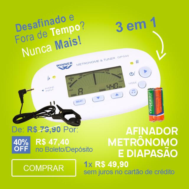 F - Afinador Metrônomo Diapasão 3 Em 1 Winner DP500WH