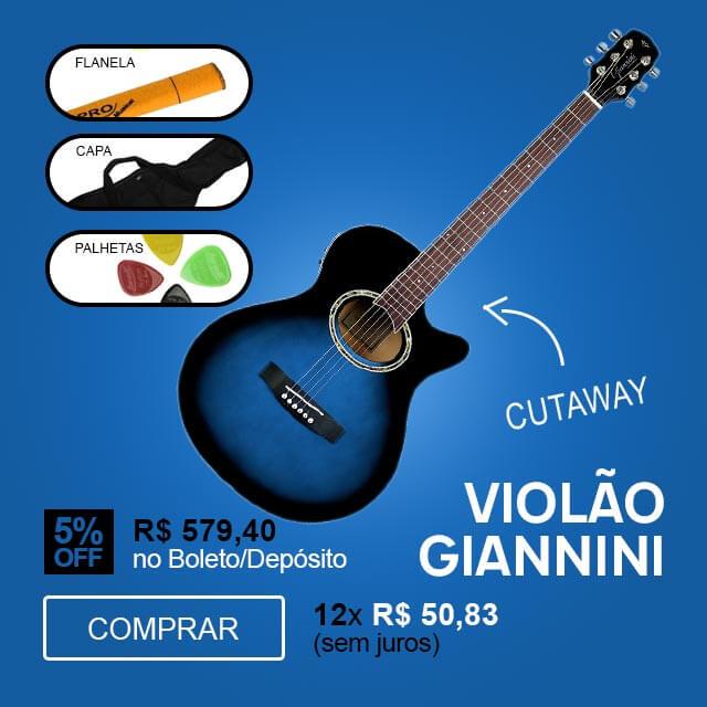 F - Violão Mini Jumbo Cutaway Eletroacústico Aço Dark Blue Burst Giannini GSF 1D CEQ DBB + Capa