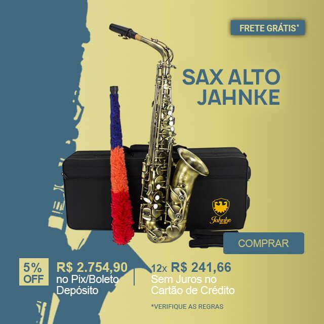 Sax Alto com Corpo Envelhecido Escova Jahnke + Estojo e Acessórios