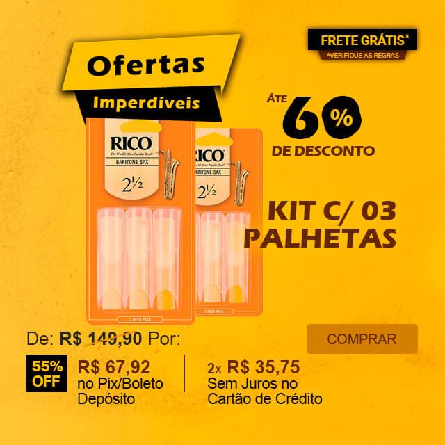 Ofertas Imperdíveis - Kit com 03 Palhetas Rico