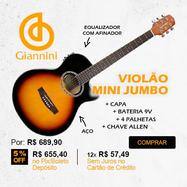 Violão Mini Jumbo Cutaway Eletroacústico Aço Sunburst Giannini GSF 1D CEQ 3TS